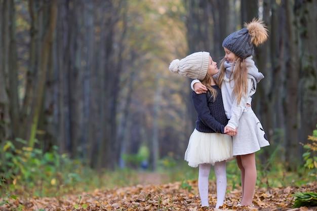暖かい晴れた秋の日に屋外で愛らしい少女