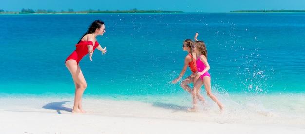 愛らしい小さな女の子と楽しんで白いビーチで若い母親