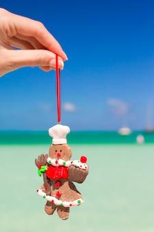 ターコイズブルーの海に対して手でクリスマスジンジャーブレッド人