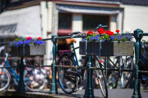 オランダ、アムステルダムの花と橋の上の自転車