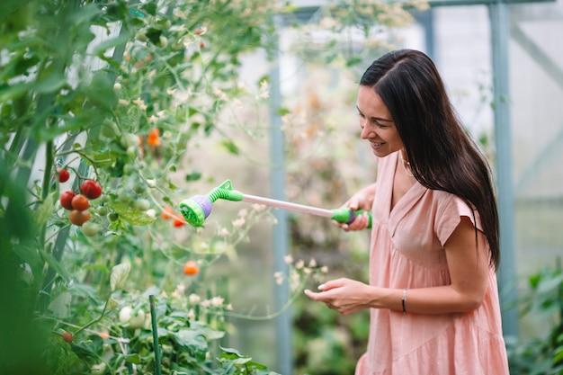 緑と温室の野菜のバスケットを持つ若い女性。収穫時間