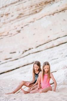 二人の小さな幸せな女の子が一緒に遊んで熱帯のビーチでたくさんの楽しみを持っています