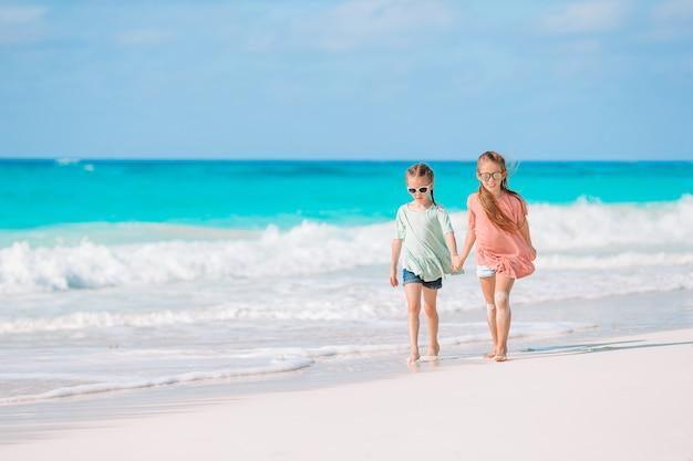 浅い水で一緒に遊んで熱帯のビーチで楽しんでいる女の子