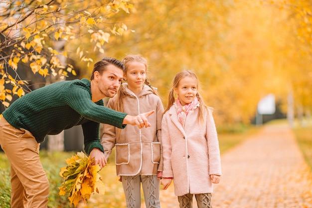 お父さんと公園で美しい秋の日に子供たちの家族