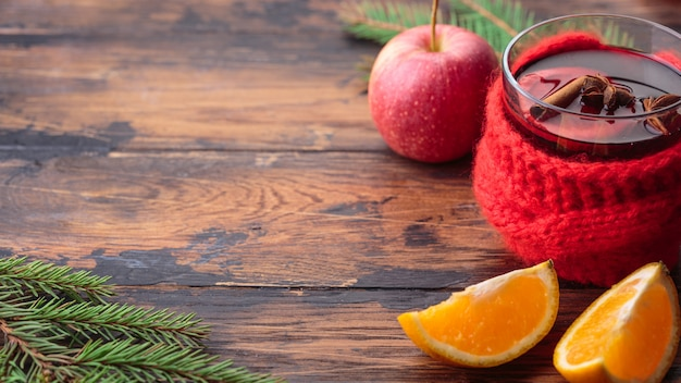 グリューワインクリスマスデコレーション成分アップルオレンジ冬の伝統的な飲み物
