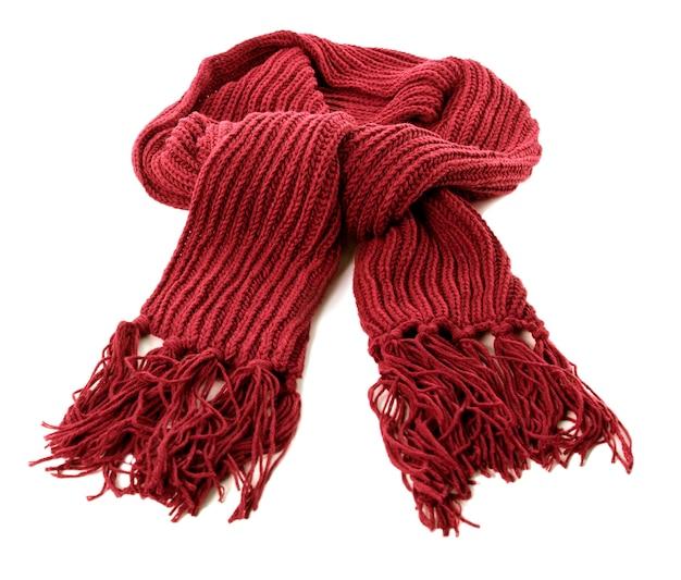 白い背景で隔離赤い冬のスカーフ