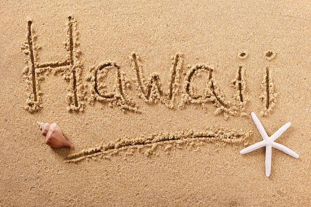 ハワイの夏のビーチのメッセージサインを書く