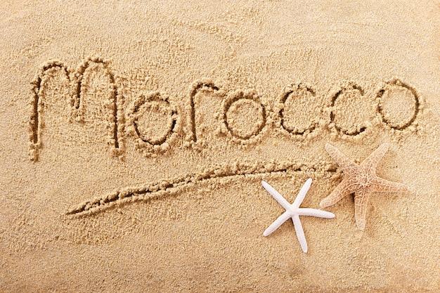 Марокко пляж слово написания сообщения путешествия концепция