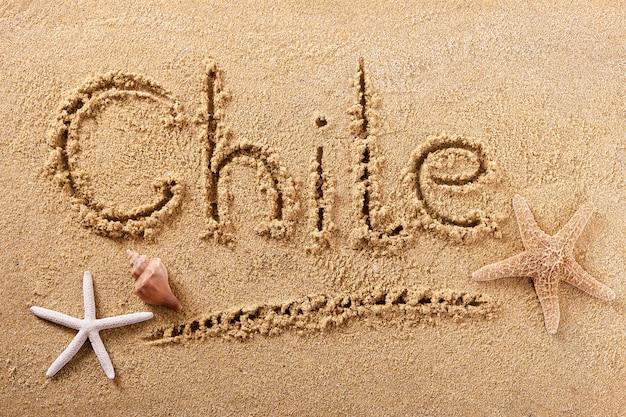 Чили летом пляж написание сообщения путешествия знак концепции