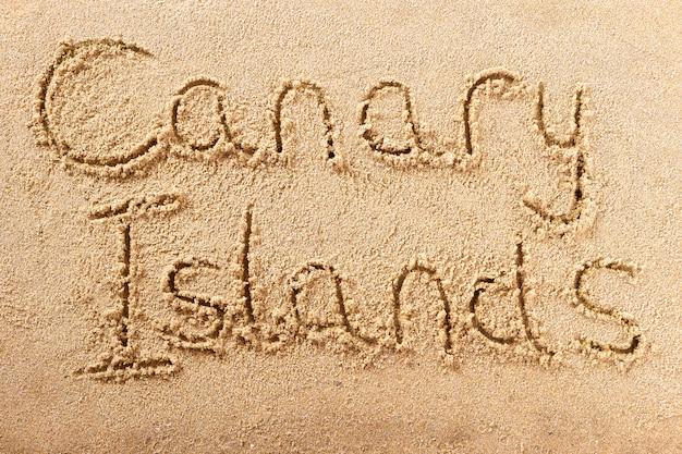 カナリア諸島の手書きのビーチの砂のメッセージ