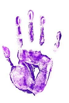紫色の塗料に手形