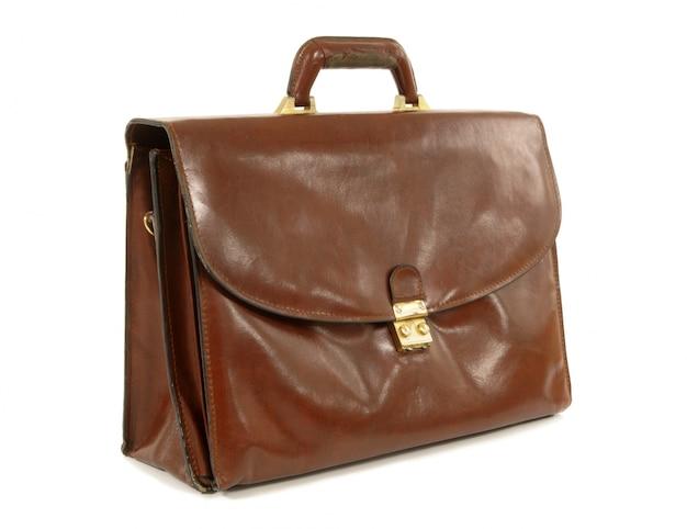 Старый коричневый кожаный портфель
