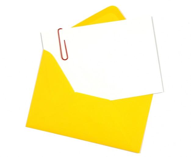 黄色の封筒付きグリーティングカード