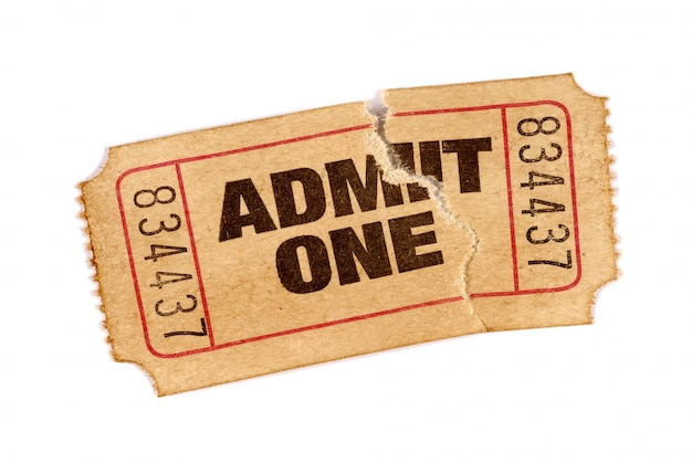 古い引き裂かれた映画のチケット