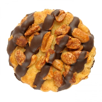 白で隔離されるピーナッツクッキー