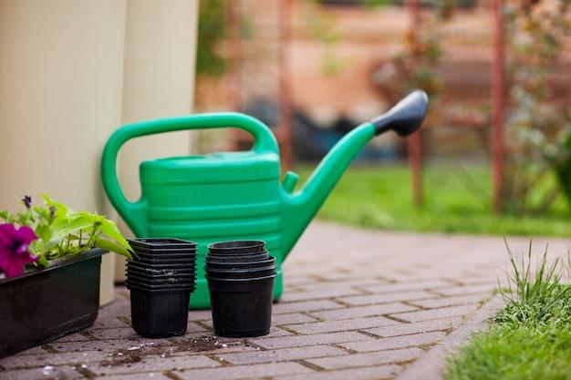 庭の小道に緑のじょうろ、植木鉢、花器が並ぶ