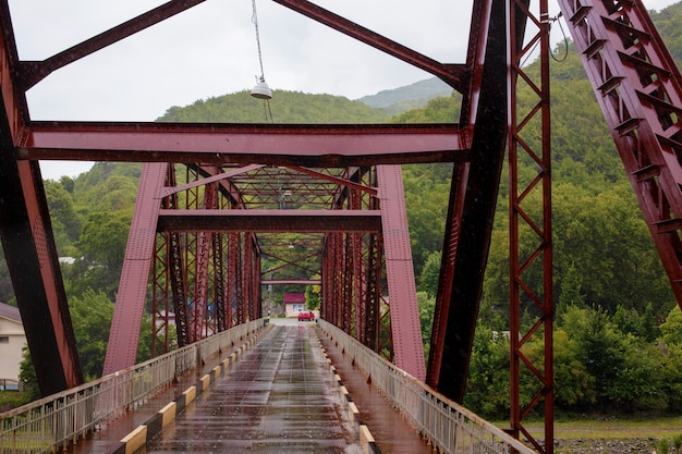 Пейзаж железного моста в горах абхазии