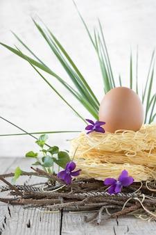 Гнездо сырой пасты с яйцом