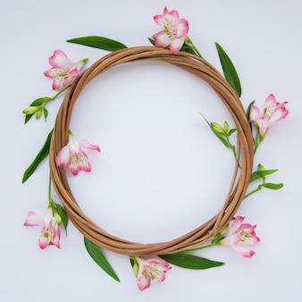 白い背景の上の美しいピンク色の花で作られたフレーム