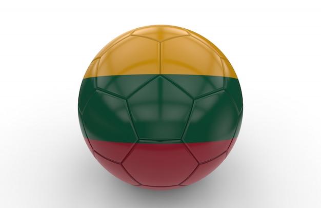 リトアニアの国旗とサッカーボール
