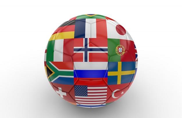 多くの国旗とサッカーボール