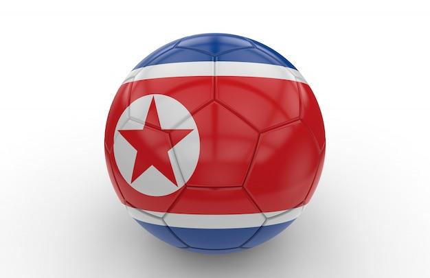 北朝鮮の国旗とサッカーボール
