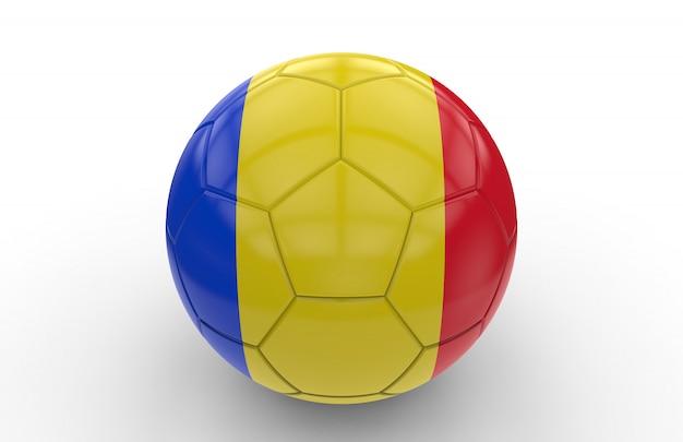 ルーマニアの国旗とサッカーボール