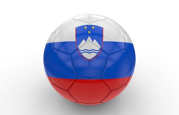 スロベニアの国旗とサッカーボール