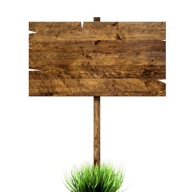 緑の芝生で木の看板