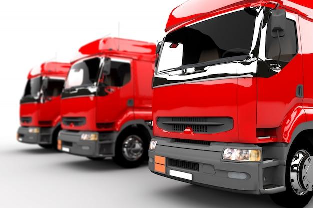 Красные грузовики