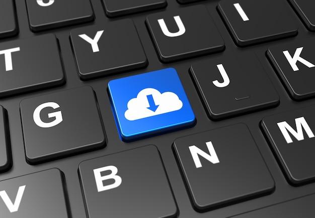 黒のキーボード上のクラウドダウンロードサインと青いボタンを閉じる