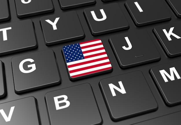 黒いキーボードにアメリカ国旗を持つボタンのクローズアップ