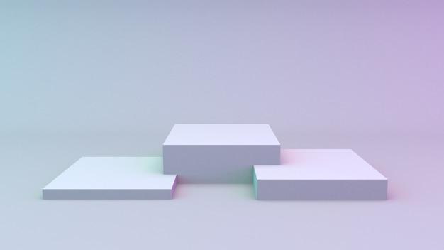 Белые кубики с глухой стеной для показа