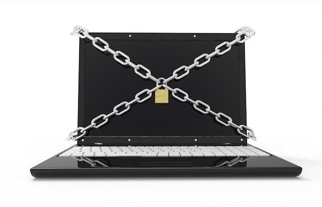 Ноутбук с цепями и замком