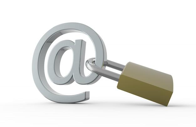 電子メールのシンボルと南京錠