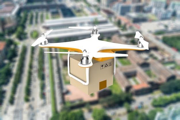 Дрон с доставкой в пакет посылки, летящий над городом