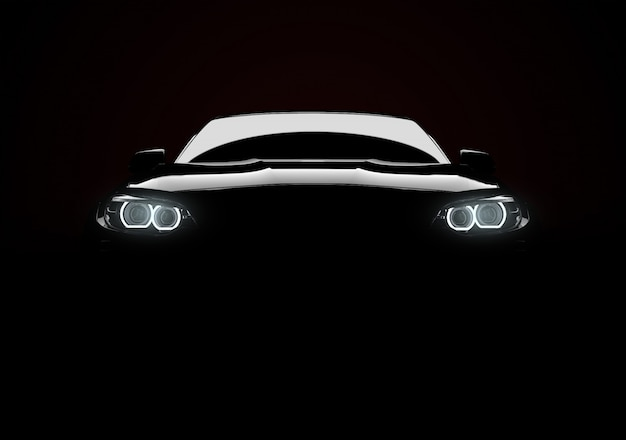 Вид спереди на универсальный современный автомобиль с подсветкой на черном фоне