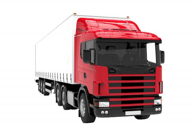 白で隔離される赤と白のトラック