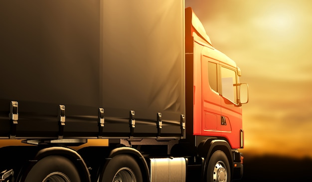 Красный грузовик на закате