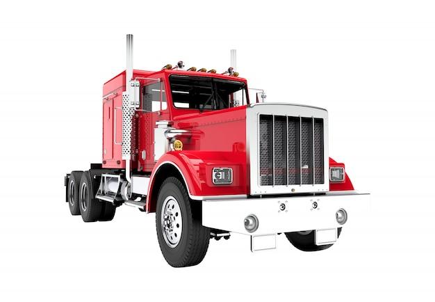 白で隔離される赤いトラック