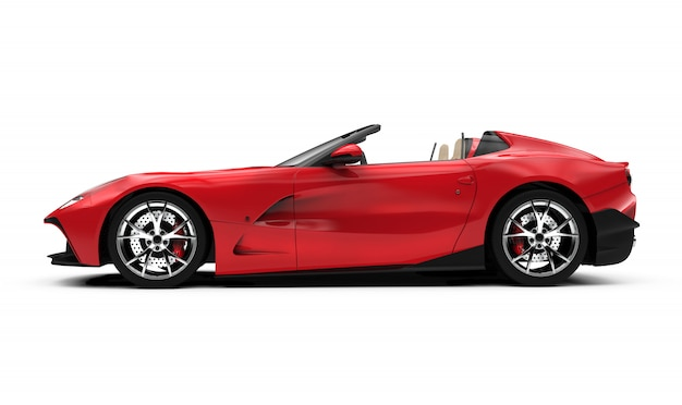 赤いコンバーチブル車の側面図