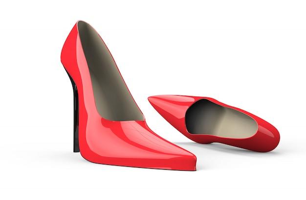 赤いハイヒールの女性靴
