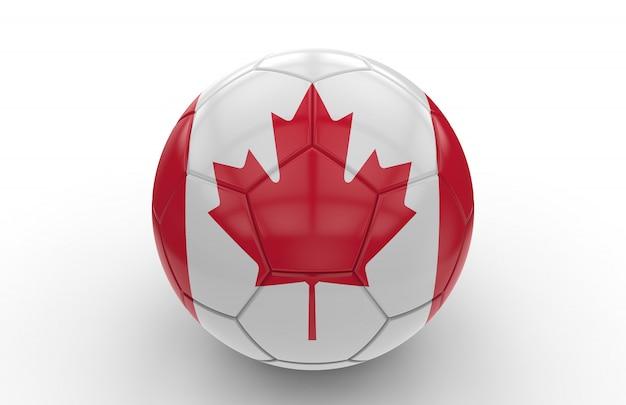 カナダの国旗とサッカーボール