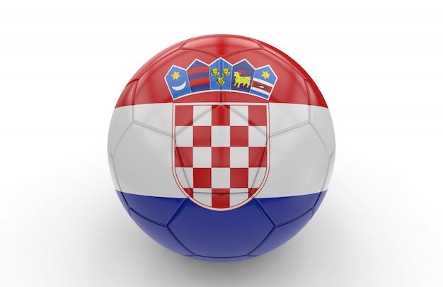 クロアチアの国旗とサッカーボール