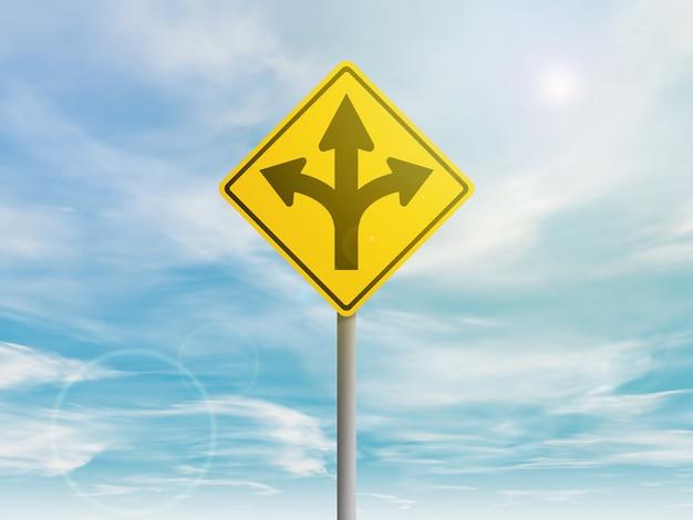 方向矢印の付いた黄色の道路標識