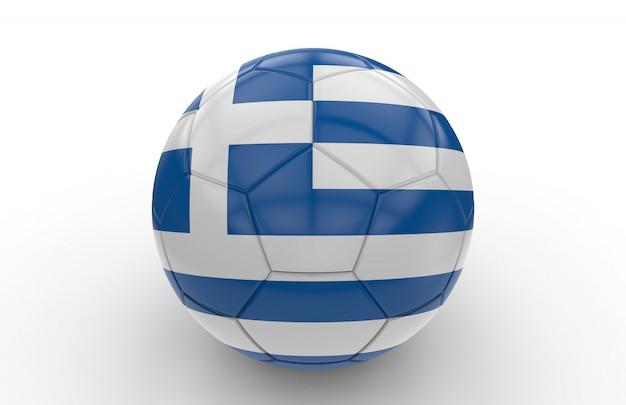 ギリシャの国旗とサッカーボール