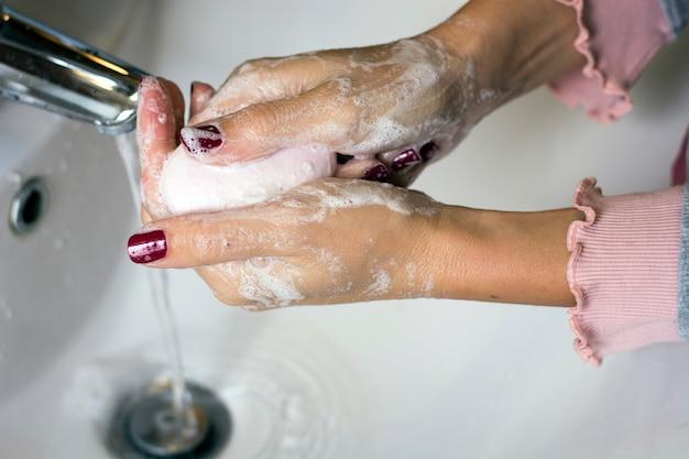 衛生。手を掃除します。