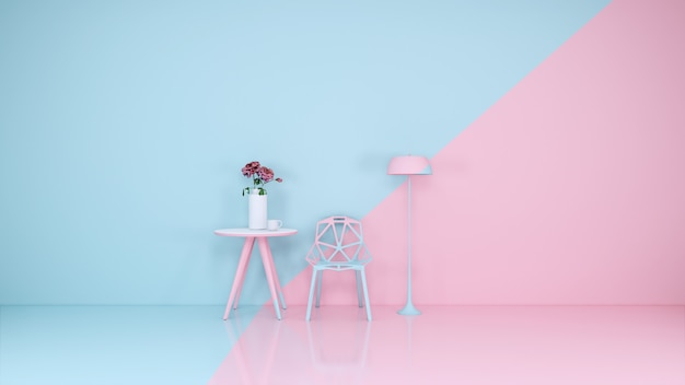 Голубая и розовая комната