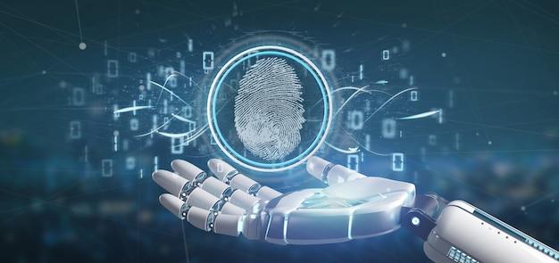 Киборг держит цифровую идентификацию отпечатка пальца и двоичный код