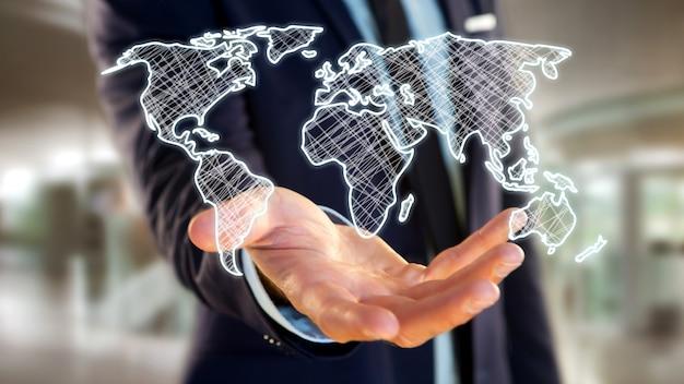 未来的なインターフェースに手描きの世界地図を保持している実業家